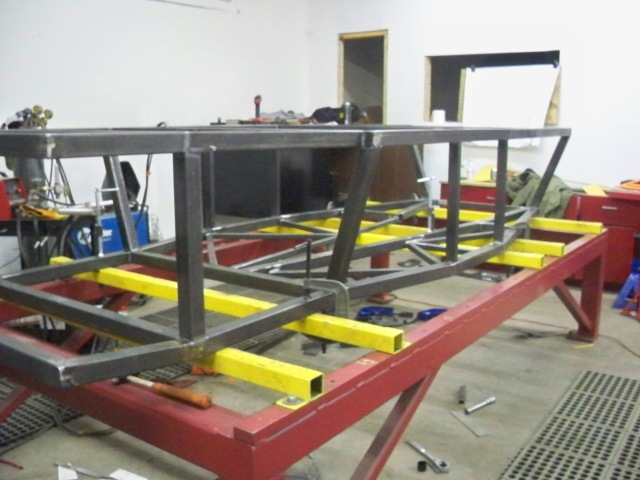 Under construction. The lower portion of the chassis taking shape.