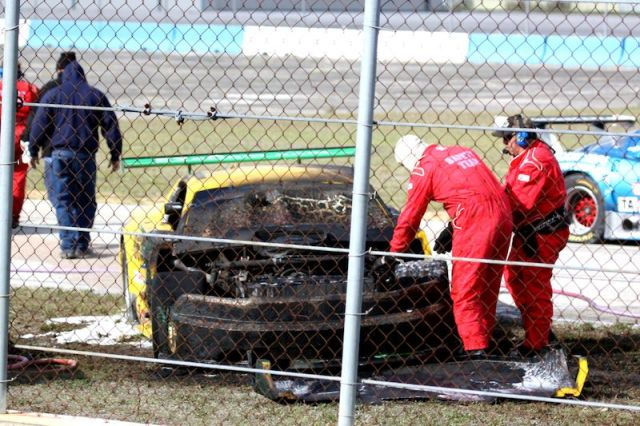Johns car after the fire at Sebring.